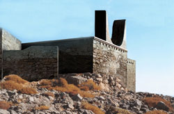 Εικ. 22. Το ιερό κορυφής Πετσοφά: αναπαράσταση με απλό κτήριο και μεγάλα κέρατα καθοσίωσης.