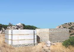 Εικ. 8. Τάφοι I και II, Βόρειο Νεκροταφείο Γουρνιών. Αναπαράσταση χωρίς παράθυρα ή είσοδο.