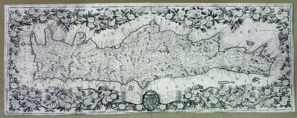 Vincenzo Maria Coronelli, «Το νησί και το βασίλειο του Χάνδακα». Βενετία 1692. Χαλκογραφία 0,45x1,20 μ. Ναυτικό Μουσείο της Ελλάδος (Αρ. Συλλογής ΝΜΕ Χ/Ν/504/001)