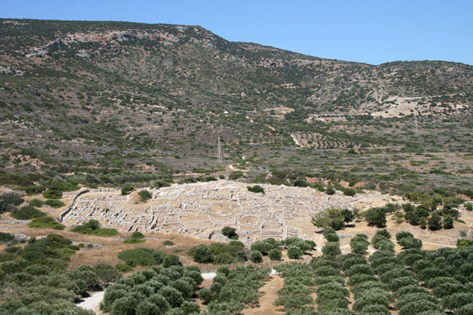 The well-preserved remains of the ancient Minoan town of Gournia in eastern Crete.