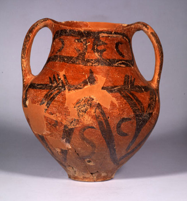Αμφορέας με γραπτή διακόσμηση από το Πλάτωμα Ασπροβάλτας, Νεολιθική Εποχή