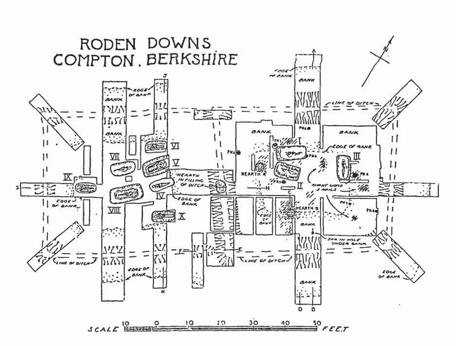 The Roden Downs cemetery, excavated by Hood & Walton in 1945-1946. After S. Hood and H. Walton, A Romano-British cremating place and burial ground on Roden Downs, Compton, Berks, Transactions of the Newbury District Field Club 9 (1) (1948), 1-62.