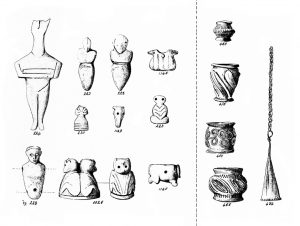 Platanos. —Left. Stone and ivory figures and amulets. Scale 1:2.  Right. Gold ornaments. Scale 1:1.