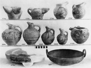 Kalathiana, clay vases and sacred table and copper bowl (M.M.I and II).