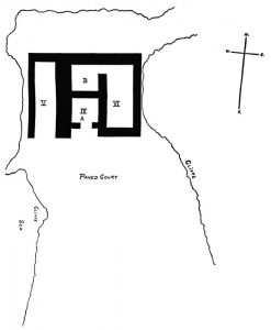 Plan of chamber tombs IV, V and VI. Scale about 1:100.