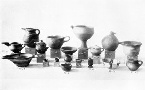 Stone and clay vases from Tomb VI. Scale about 1:4.
