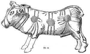 Clay bull from Tomb XI. Scale 1:2.