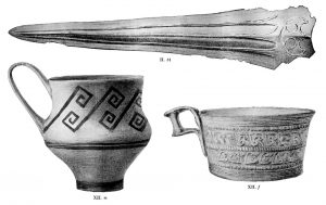 Finds from Tombs II and XII. Scale about 2:3.