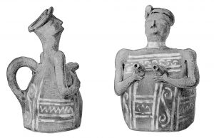 Vase representing a female figure holding her breasts from Tomb XIII. Scale 1:2.
