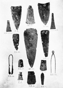 Bronze objects from Tombs I, XIX and XXI. Scale 1:2.