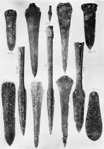 Bronze objects from Tombs II, III, IV, XI, XIII, XIX and XX. Scale about 2:5.