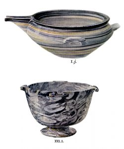 Stone vases from Tombs I and XVI. Scale about 1:2.
