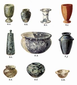 Stone vases from Tombs II and the cemetery. Scale slightly above 1:2.