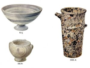 Stone vases from Tombs II, XXI and XXIII. Scale about 3:5.