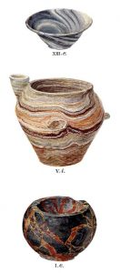 Stone vases from Tombs I, V and XIII. Scale about 3:5.