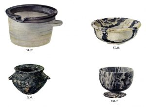 Stone vases from Tombs IV, VI and XXI. Scale about 3:5.