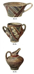 Pottery from Tomb XI and the cemetery. Scale about 3:8.