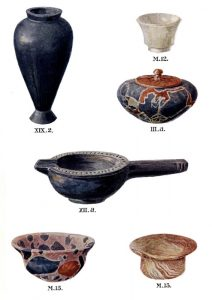 Stone vases from Tombs III, XII, XIX, and the cemetery. Scale about 5:6.
