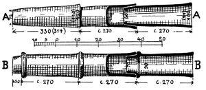 Tonrohr-Wasserleitung von Paläokatuna zum Stadtbrunnen. A= achäisch, B= später.