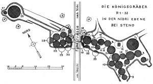 Lageplan der Königsgräber R 1-33 in der Nidri-Ebene.