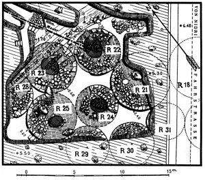 Plan der Grabhügel R 21-25 der Königsgräber bei Steno, westlich der Fahrstrasse.