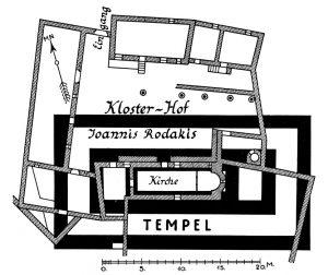 Das Kloster des H. Joannis Rodakis mit den Fundamenten eines antiken Tempels.