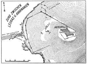 Plan von Neu-Nerikos am Sunde von Leukas.