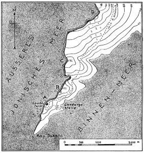 Plan des südlichen Teiles der Halbinsel Leukatas.