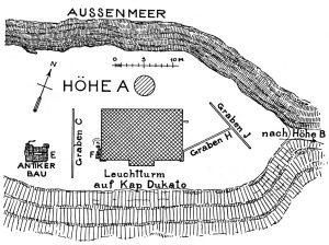 Antiker Bau und Leuchtturm auf der Höhe A von Kap Dukato.