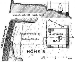 Antiker Bau auf der Höhe B von Kap Dukato.