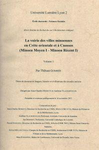 La voirie dans les villes minoennes en Crète orientale et à Cnossos (Minoen Moyen I – Minoen Récent I)